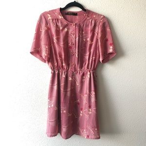 Vintage Pink and Cream Floral Sun Dress Sz Medium